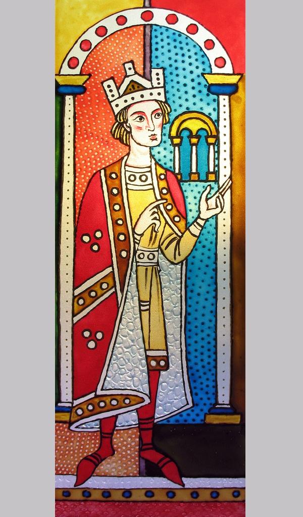 Yuri Yudaev. Medieval Motif. Glass painting. 2009. Counter liner IDEA, transparent acrylic paste, and glass paints MAIMERI / Pébéo Vitrea on glass 41 x 14 cm.