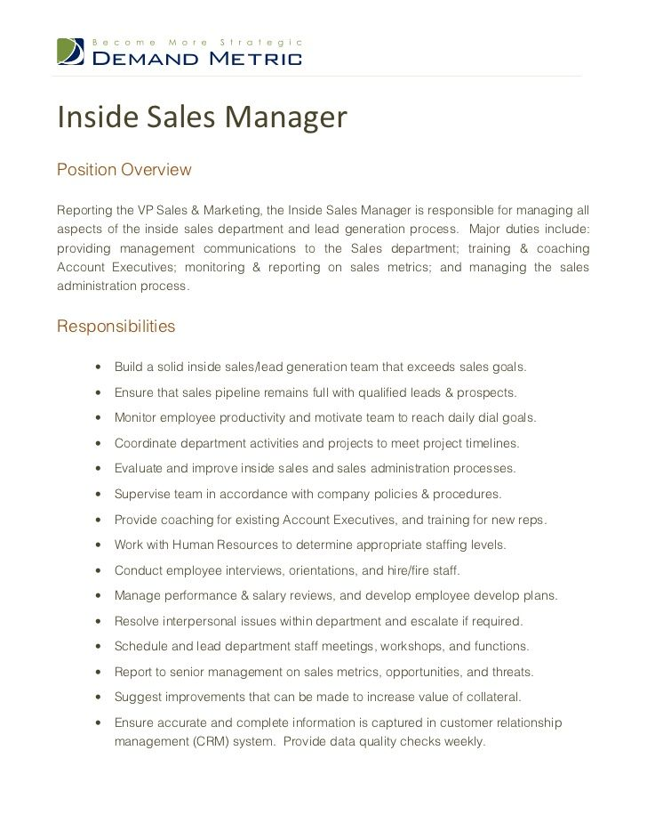 Inside Sales ManagerPosition OverviewReporting the VP Sales & Marketing, the Inside Sales Manager is responsible for manag...