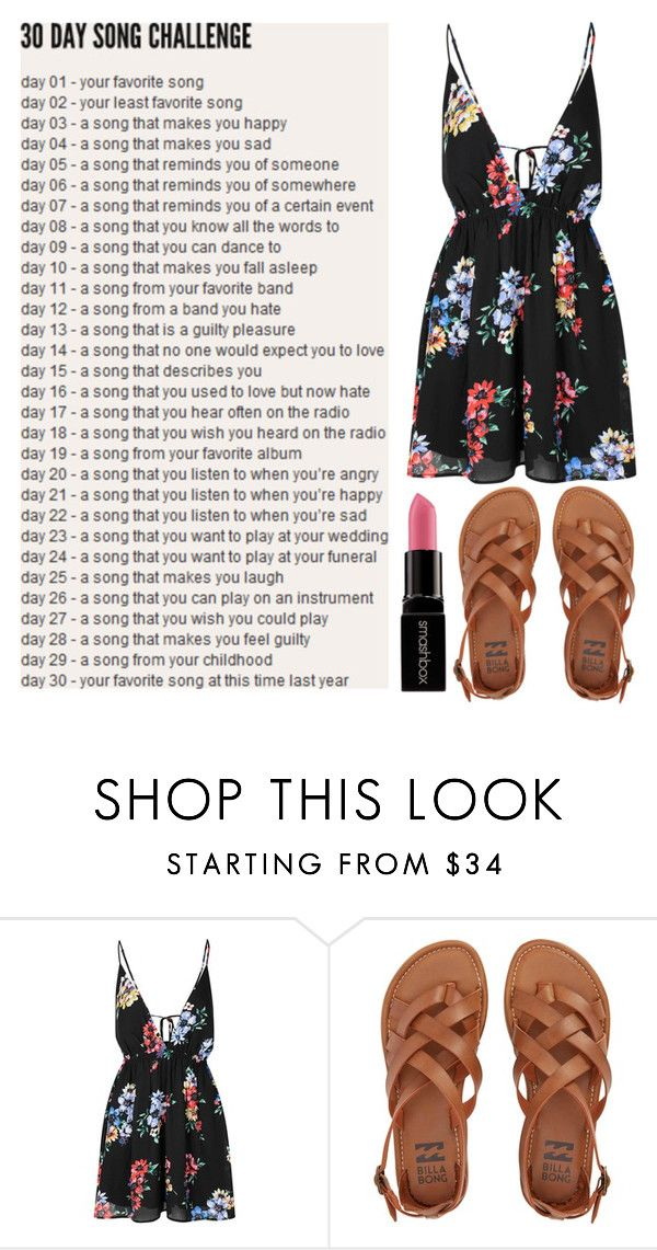 """Day #9: Summer by Calvin Harris"" by laughsalotisabelle ❤ liked on Polyvore featuring Glamorous, Billabong and Smashbox"