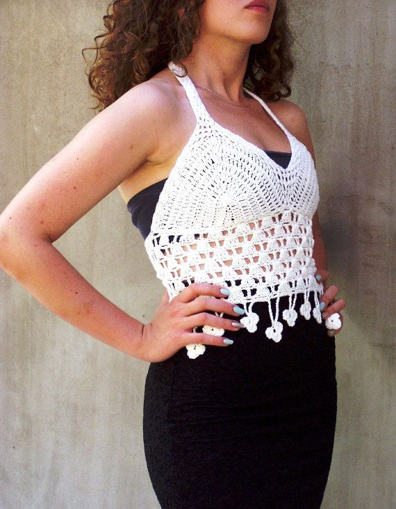 Lily of the valley Fairy top Crocheted Lace Halter by HEraMade, $69.00