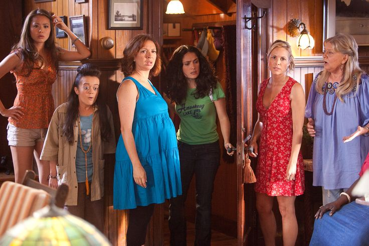 """Grown Ups"" movie still, 2010.  L to R: Jamie Chung, Ashley Loren, Maya Rudolph, Salma Hayek, Maria Bello, Joyce Van Patten."
