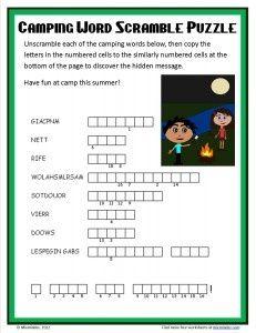 Free Camping Word Scramble Activity Sheet