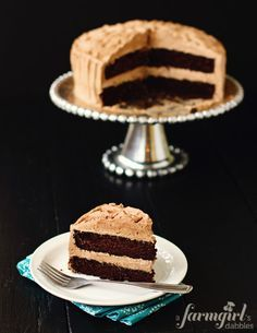 Dark Chocolate Cake with Chile-Chocolate Buttercream via @Brenda - a farmgirl's dabbles