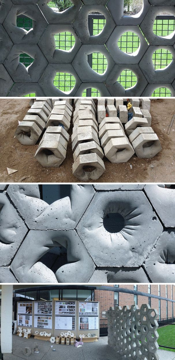 This is a full-scale concrete prototype wall was designed and constructed at the University of Minnesota School of Architecture. The modules were produced with an adjustable formwork which featured a flexible latex bladder. This allowed the each block to show a different aperture. #architecture #modular #material