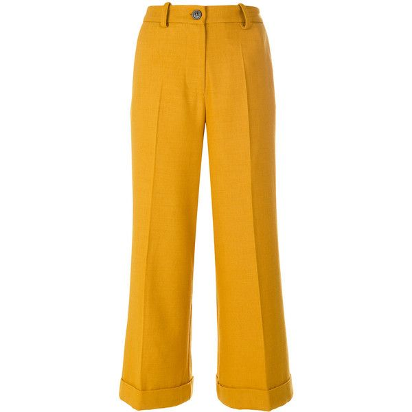 Erika Cavallini cuffed culottes (€290) ❤ liked on Polyvore featuring pants, capris, cuffed pants, cuffed trousers, mustard yellow pants, yellow pants and mustard pants