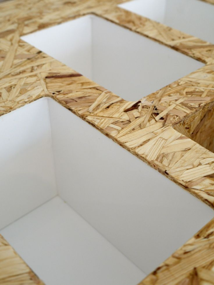 Solid surface and OSB for versatile furniture pieces