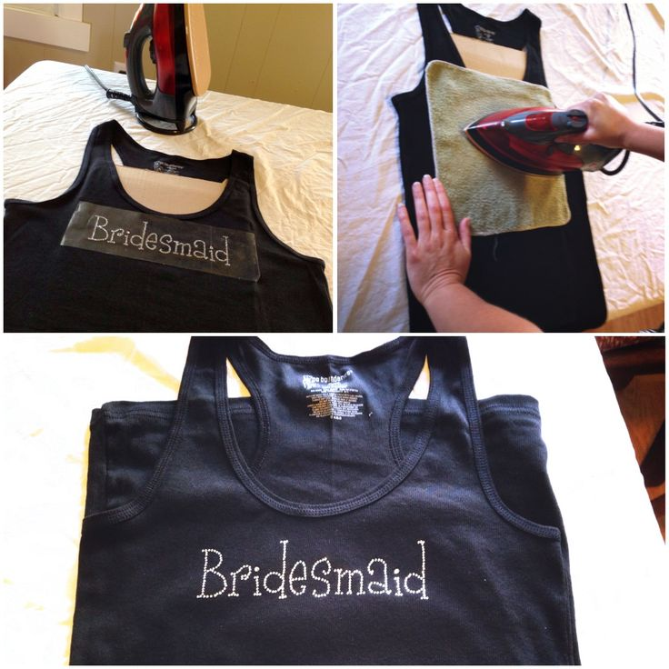 DIY Bridesmaid T-shirts for the girls to get ready in the day of the wedding. Black tank top from Walmart 3.88, bridesmaid rhinestone iron on 3.00. Cheap and easy