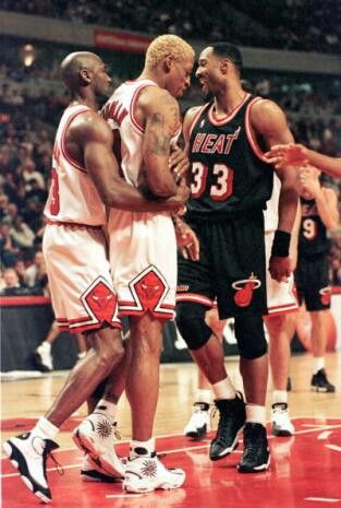 Michael Jordan, Dennis Rodman and Alonzo Mourning (Miami Heat)
