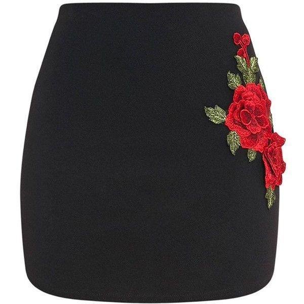 Kaisa Black Rose Applique Curve Hem Mini Skirt (260 ARS) ❤ liked on Polyvore featuring skirts, mini skirts, bottoms, applique skirt, sexy mini skirts, mini skirt, rosette skirt and short skirts