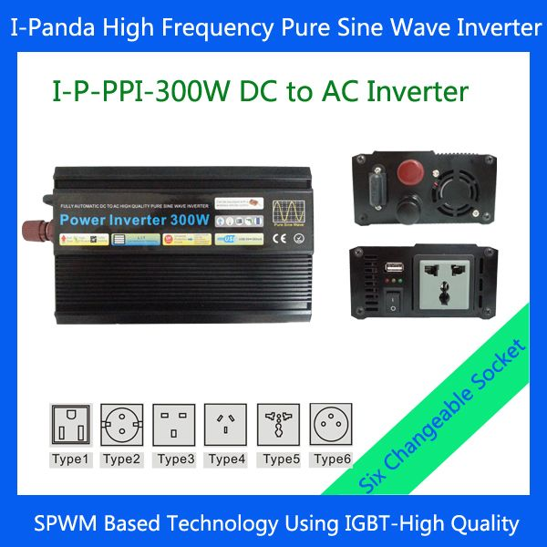 I-P-PPI-300W dc ac power inverter pure sine wave   Off-grid solar power inverter 300W DC12V 24V 48V car inverter power invertor