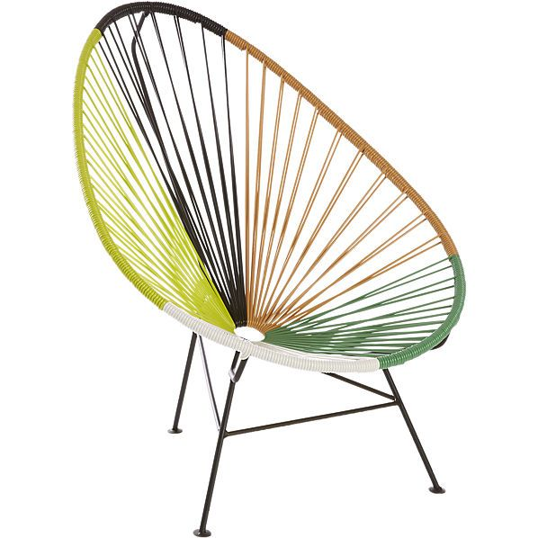 acapulco green outdoor lounge chair  | CB2  $269 each (less 15% is $228.35) - for small seating area on the side