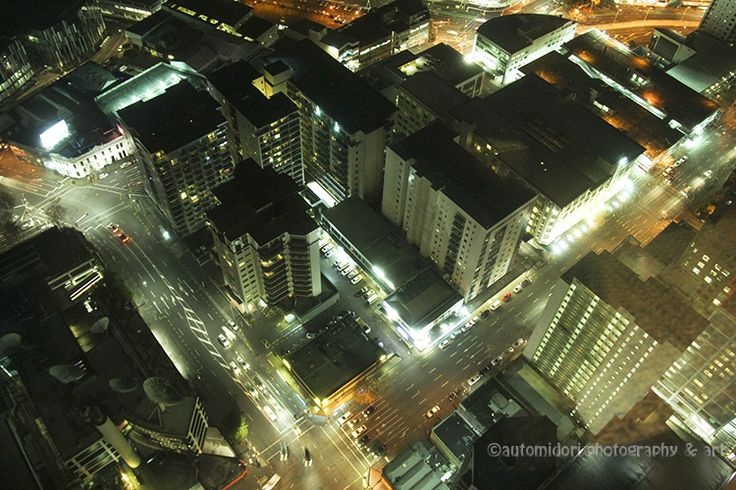 Auckland from above, seen through Sky Tower.