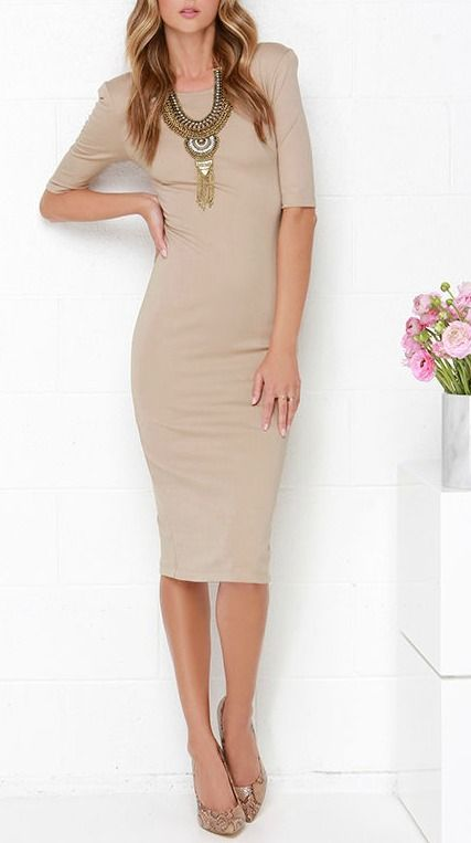 We Built This Midi Beige Midi Dress Style Dr Who And