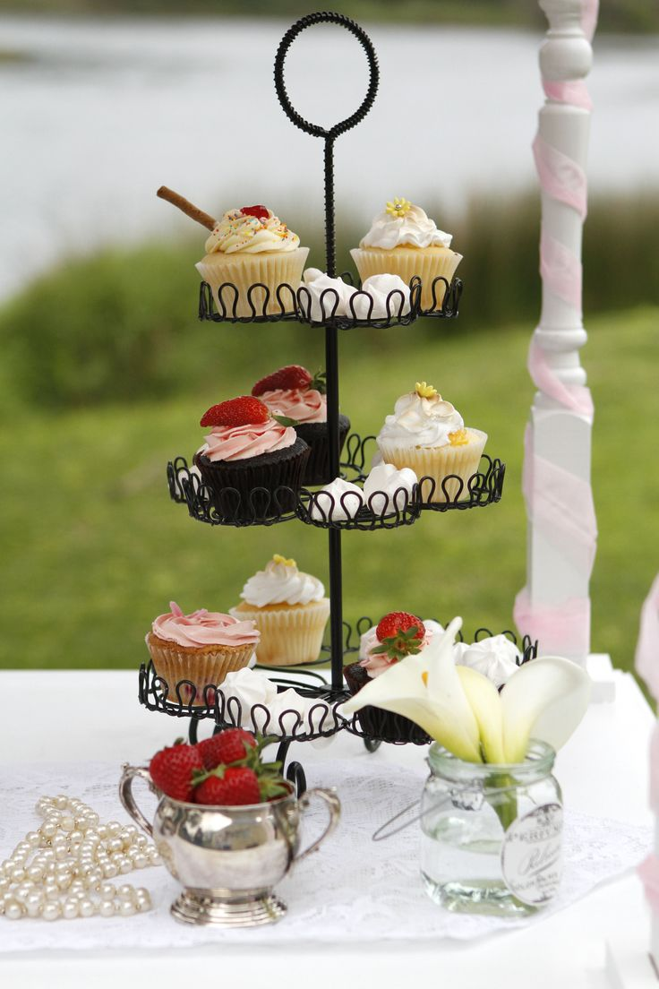 Black Wrought Iron Cup Cake Stand Hire www.capeoflove.com
