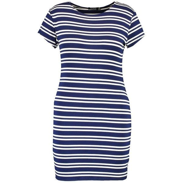 Boohoo Plus Bella Striped Bodycon Dress   Boohoo ($14) ❤ liked on Polyvore featuring dresses, body con dresses, stripe bodycon dress, blue striped dress, blue bodycon dress and striped bodycon dress