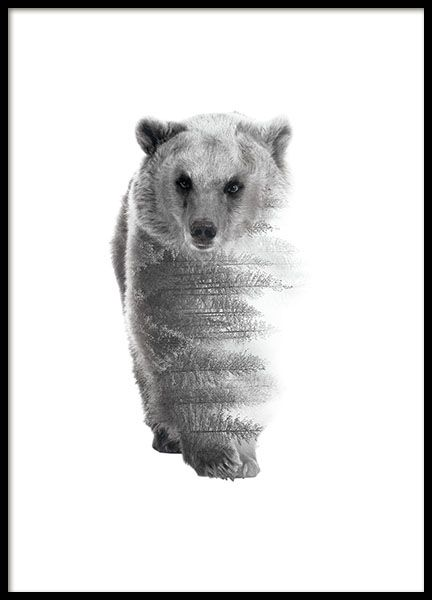 A black and white poster of a bear with elements of a forest, lovely photo art/illustration. Looks nice in one of our frames or maybe even in a clip? You can easily purchase anything you need for a complete picture. www.desenio.co.uk