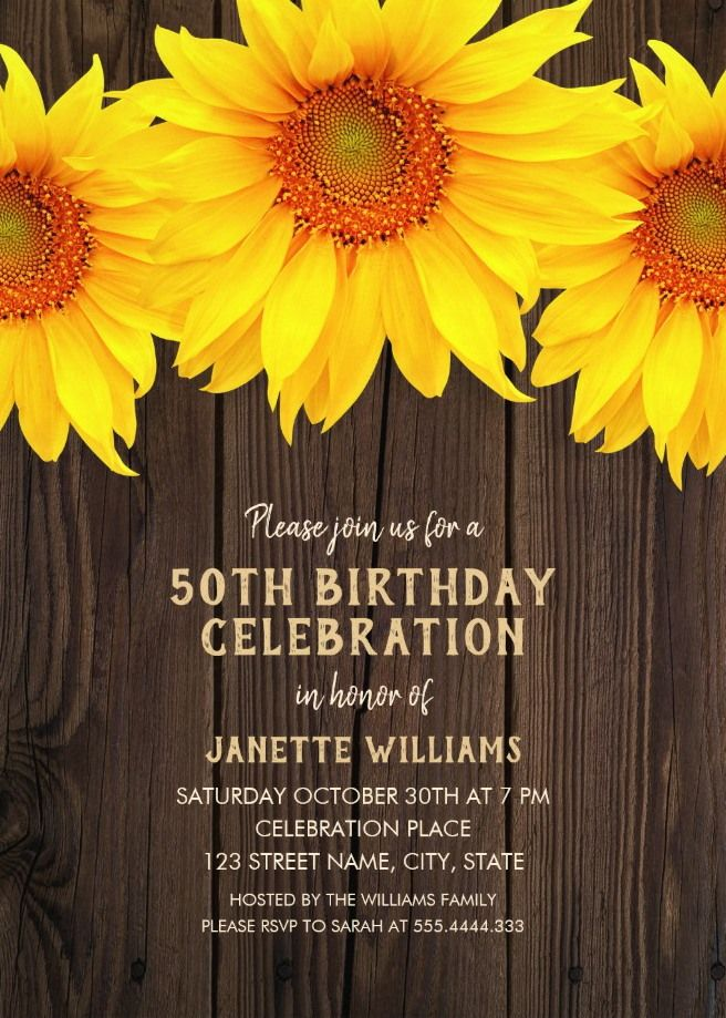 Online Birthday Invitations Templates Brilliant Country Sunflower 50Th Birthday Invitations  Rustic Wood Templates .