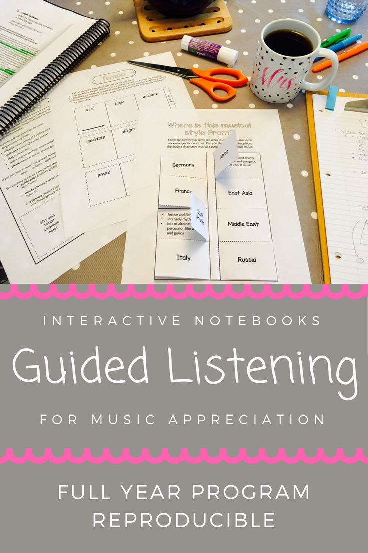 Music Appreciation/ Guided Listening Program for the whole year! Use this interactive notebook with students to learn what to listen for, how to describe it, and more. Includes elements of music like tempo and dynamics, and periods of music history, too!