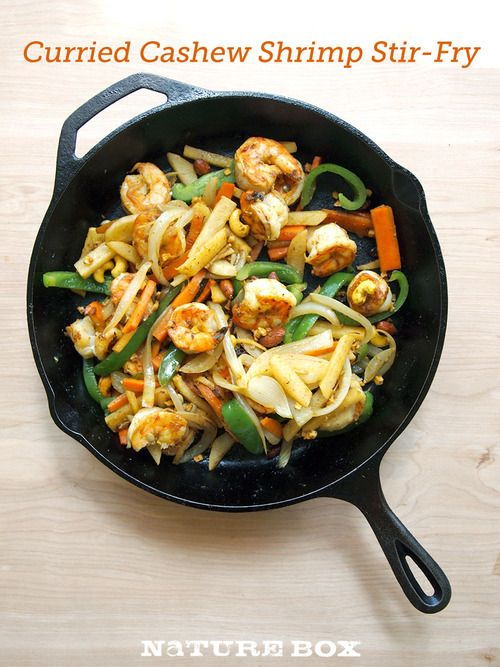 What're you having for dinner tonight? We're sauteing some shrimp, fresh veggies and Bombay Curried Cashews for a quick stir-fry!