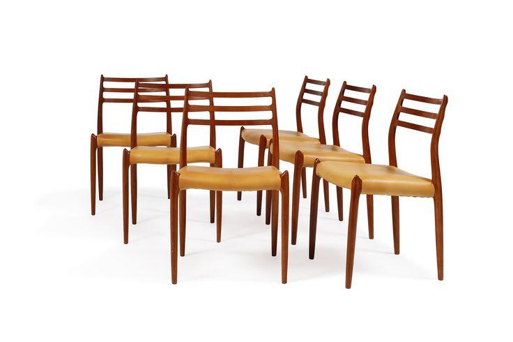 """Niels Otto MOLLER (1920 - 1981) Suite de six chaises """"modèle 78""""  Suite de six chaises """"modèle 78"""" Teck et cuir. 80 x 48 x 45 cm  A set of six """"model 78"""" chairs by Niels Otto Moller, in teakwood and leather. 31.49 x 18.89 x 17.71 inch #design#auction#online#2017"""