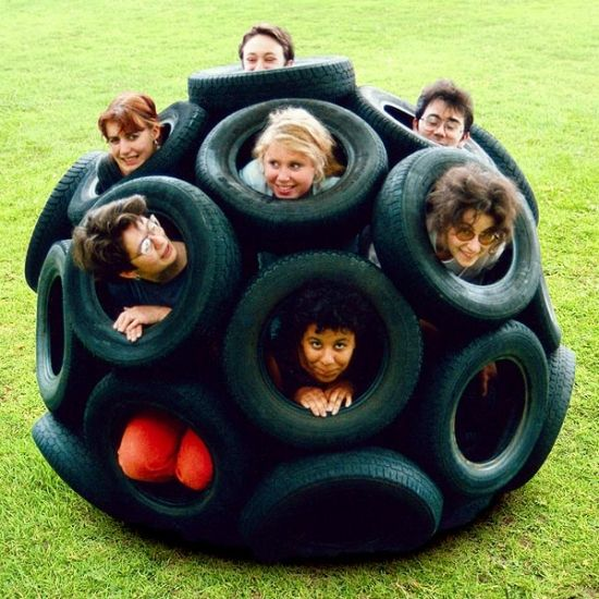 Car tires upcycling ideas climbing playground equipment for children