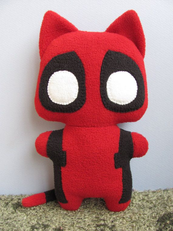 Catpool, the Comic Cat Superhero, stuffed animal plush toy, handsewn, ecofriendly