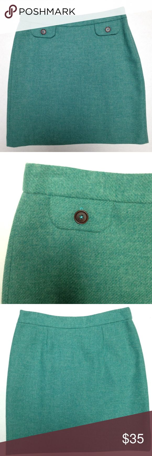 Boden Tiffany Blue Wool Skirt EUC Boden Tiffany Blue 100% Wool Skirt. UK size 10R or US 8. Faux pockets. Zip side. Fully lined. Too small for me unfortunately.  Approx measurements:  15 in across  18.5 in long Boden Skirts Mini