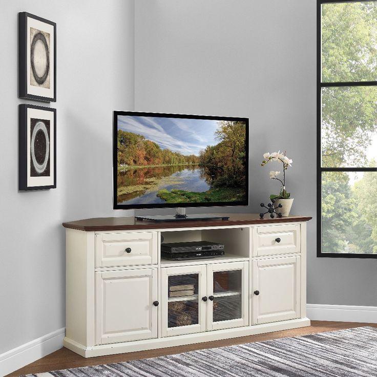 Whittiker Corner Tv Stand For Tvs Up To 65 Corner Tv Stand Corner Tv Corner Tv Stands