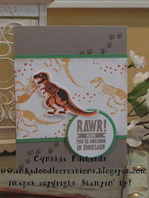 #inkadoodlecreations, #stampinup, #ssinkspiration, no bones about it, dinosaur handmade cards, birthday