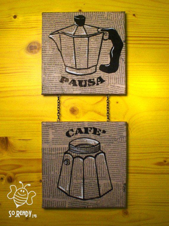 Pausa Cafè, dipinto su tela #Moka #Caffè #espresso #riciclo #napoli #soreadystyle - di So.Ready Lab - soreadylab.etsy.com