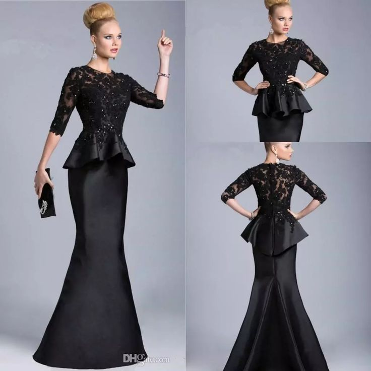 Vintage 2016 Black Mother Of The Bride Sheer Half Long Sleeves Lace Beaded Peplum Sheath Formal Dresses Evening Gowns Vestido Formales 510 Best Mother Of Bride Dresses Bridal Mother Of The Bride Dresses From Factory Sale, $126.64| Dhgate.Com