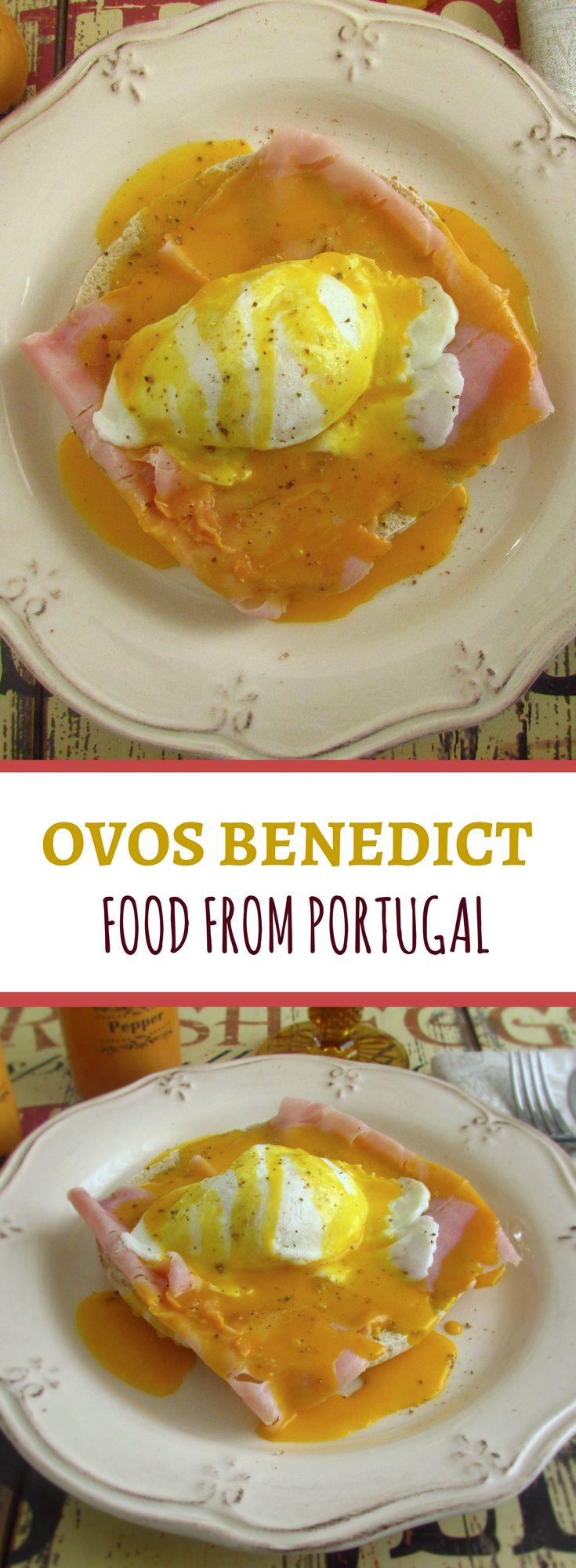 Ovos benedict | Food From Portugal. Ovos benedict é uma receita deliciosa, ovos escalfados em água temperada com um raminho de coentros, acompanhado com pão e fiambre e com um molho feito à base de sumo de limão, gemas de ovo, margarina e pimenta. #receita #ovo #benedict