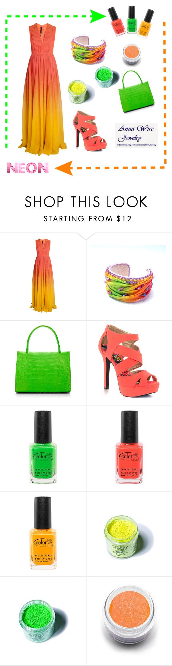 """""""Wear neon!"""" by monaline ❤ liked on Polyvore featuring Elie Saab, Nancy Gonzalez, Qupid, Color Club, Medusa's Makeup and Sugarpill"""