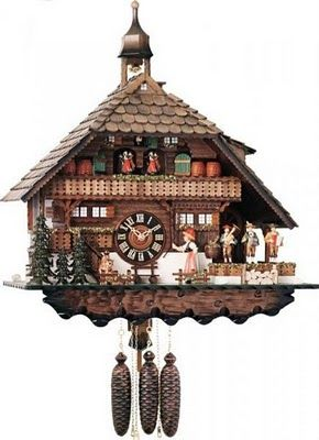 This reminds me of the cuckoo clock we bought in Germany.  Wish we would have gotten a simple one.