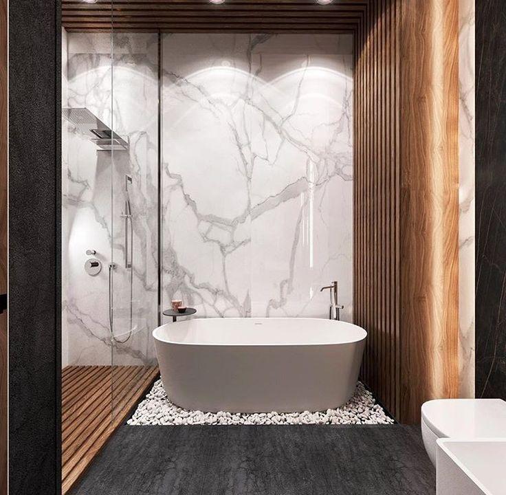 Idee Decoration Salle De Bain Marbre Et Bois Dans Une