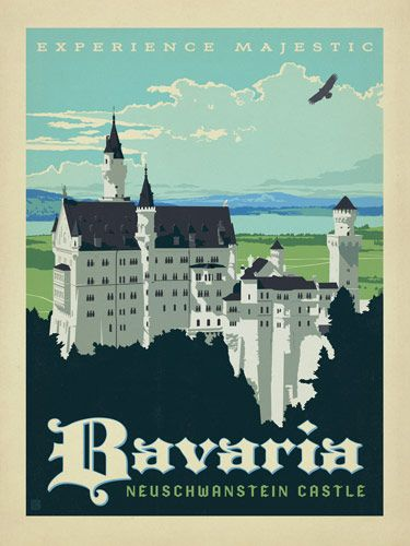 Germany: Bavaria - Our latest series of classic travel poster art is called the  World Travel Poster Collection. We were inspired by vintage travel  prints from the Golden Age of Poster Design (a glorious period spanning  the late-1800s to the mid-1900s.) So we set out to create a collection  of brand new international prints with a bold and adventurous feel.<br />