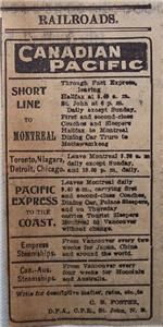 1903 Canadian Pacific Time Table Train Service Daily Telegraph Saint John NB Ad Collectible