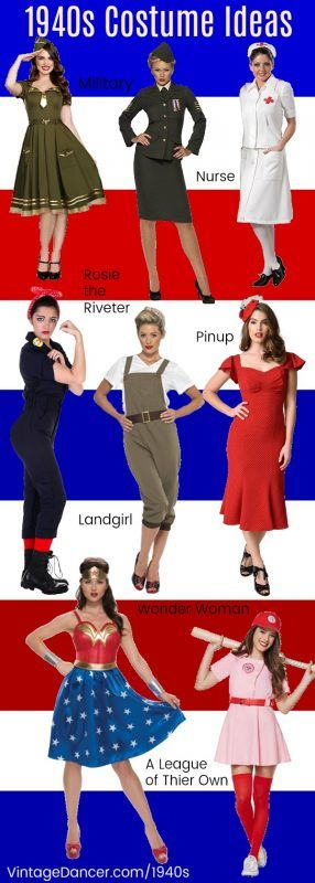 1940s costumes idea- Halloween party costumes- Military, nurse, Rosie the Riveter, Pinup, Landgirl, Wonder Woman, A League of Their Own, and many more