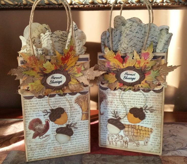 """Thanksgiving Gift Bags, small """"Thank You"""" for my dinner guests. I added a small jars of caramel and apples."""