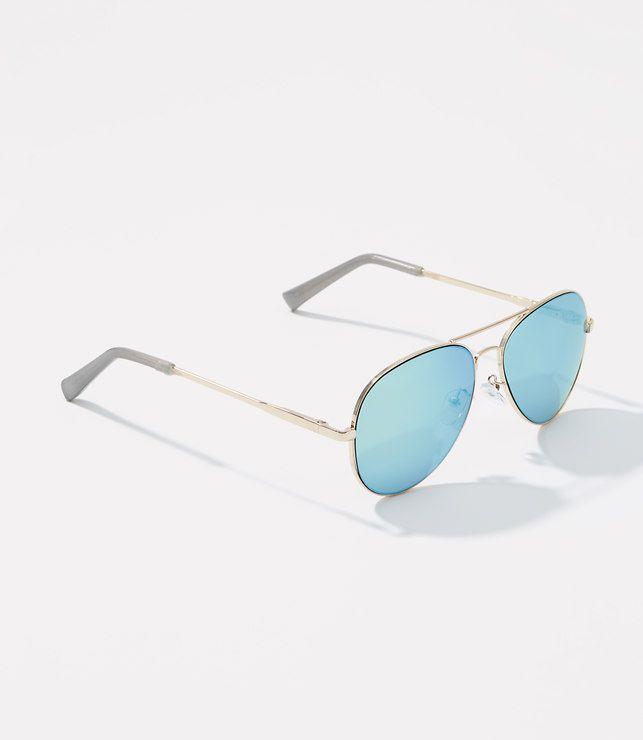 LOFT- Mirrored Aviator Sunglasses