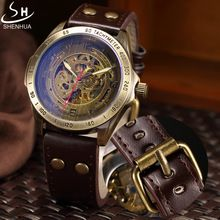 Retro bronze skeleton mechaniczny zegarek shenhua mężczyźni zegarki sportowe luksusowe top marka leather watch relogio masculino(China (Mainland))