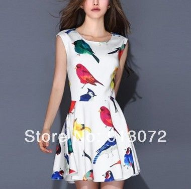 QZ1073 New Fashion Ladies' Elegant colored bird print pleated Dress O neck sleeveless casual slim evening party brand design