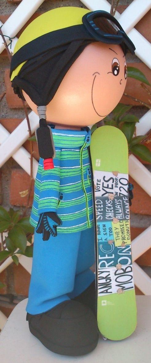 Esquiador con Tabla Snowboard 02