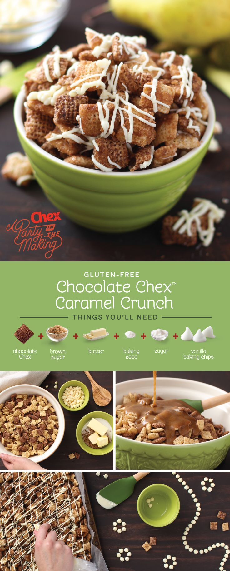 Little helpers will love topping this one off with white chocolate drizzle! Homemade Chocolate Caramel Crunch Chex Mix packs two of our favorite flavors into one easy to make treat that both kids and adults will love.