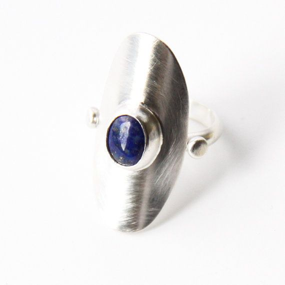 Deep blue Lapis Lazuli and silver ring with an by bluehourdesigns, $125.00