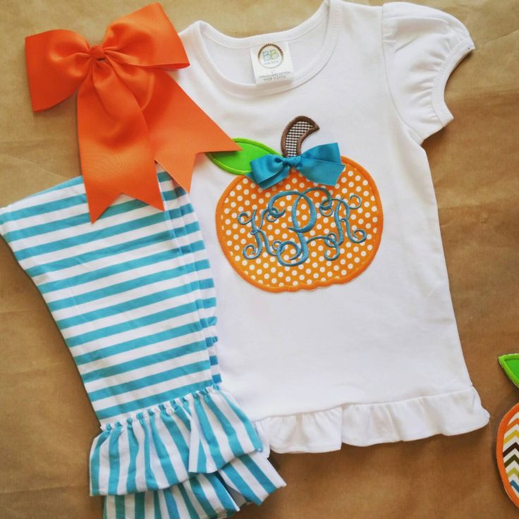 Girls fall outfit , applique pumpkin , monogram fall girls outfit , girls boutique clothes , halloween thanksgiving outfit , halloween by ThePreppyPepper on Etsy https://www.etsy.com/listing/241404273/girls-fall-outfit-applique-pumpkin