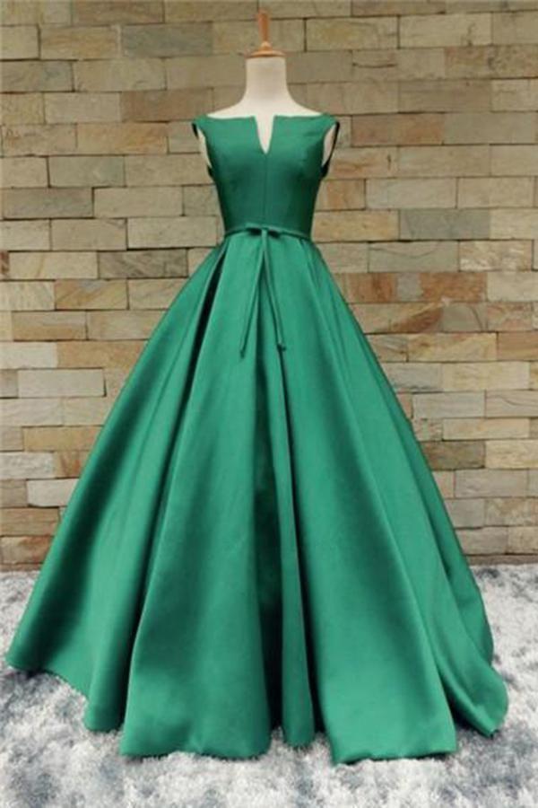 978c1e9d9915 Customized Admirable Green Green Satin Long V Neckline Senior Prom ...