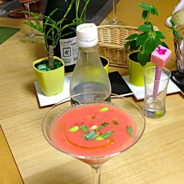 材料と調味料合わせてバーミックス!超簡単(^_^) - 24件のもぐもぐ - スイカとトマトのスープ by 中川 恵子
