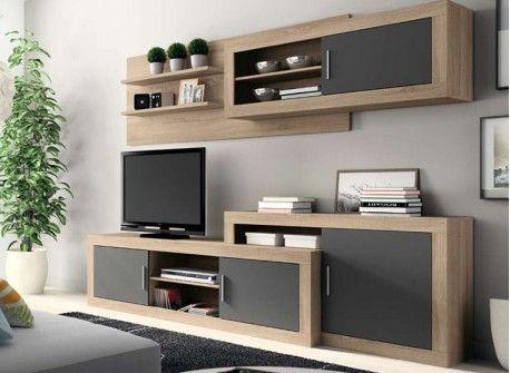 Mueble de comedor Vilanova, moderno y actual para tu salón comedor, con mueble TV multimedia de 2 puertas, módulo inferior de una puerta extensible y altillo de una puerta y estantería.  por solo 299€