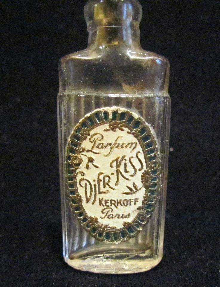 1920's Djer Kiss Perfume Bottle Paris Perfume Kerkoff Paris France Art Deco Small Bottle